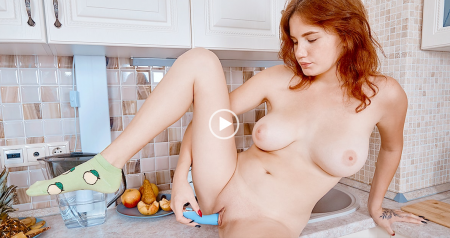 Queenlin - Brunette satisfies hunger with a dildo